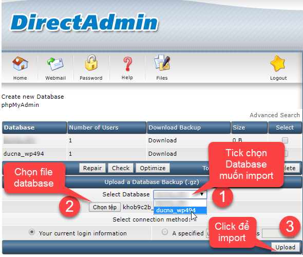 Để import database ta thao tác theo thứ tự như hình