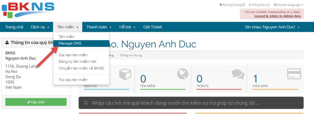 Vào phần tên miền, chọn vào Manage DNS