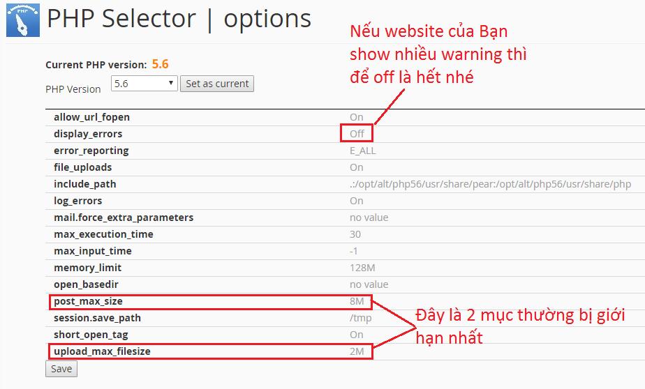 Giao diện cửa sổ PHP settings ( hình 2)
