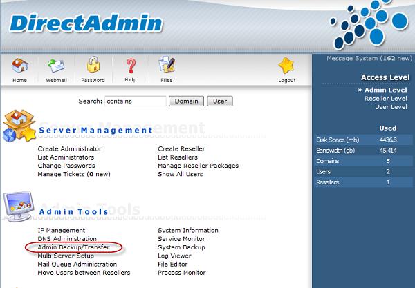 Đăng nhập DirectAdmin với quyền admin sau đó click vào Admin Backup/Transfer