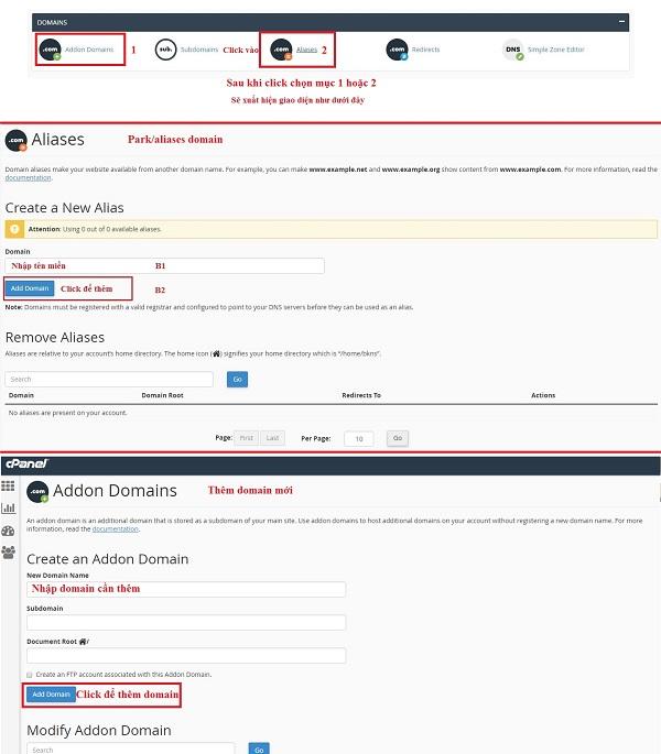 Bạn đăng nhập quản trị hosting và click vào 1 trong 2 chức năng Addon Domain hoặc Alias