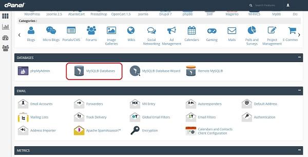 chọn chức năng MySQL® Databases tại danh mụcDatabases