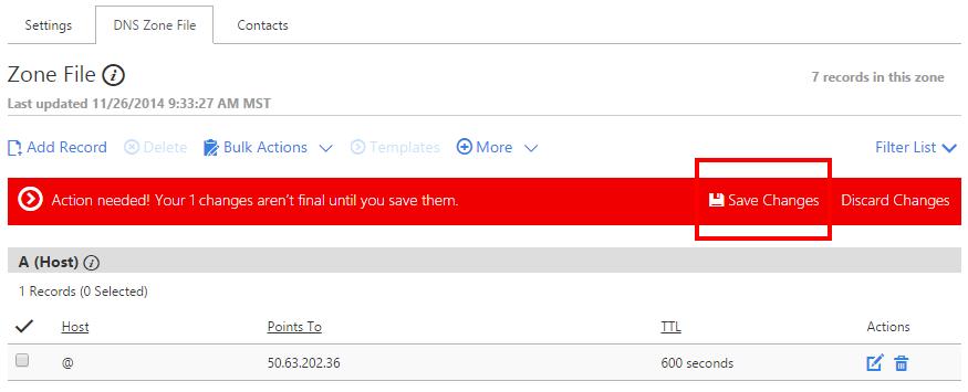 """Ấn nút """"Save"""" để lưu lại giá trị DNS bạn đã sửa/thêm mới"""
