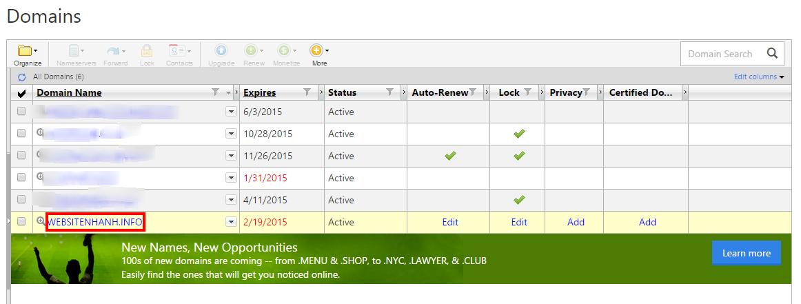 Click vào tên miền cần cập nhật DNS