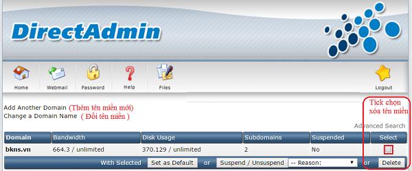 ChọnDomain Setup tại khu vực 1 để quản lý thêm, sửa xóa domain chính