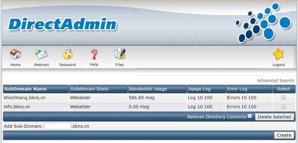Chọn Subdomain Managementtại khu vực 1 để quản lý thêm, sửa xóa domain phụ
