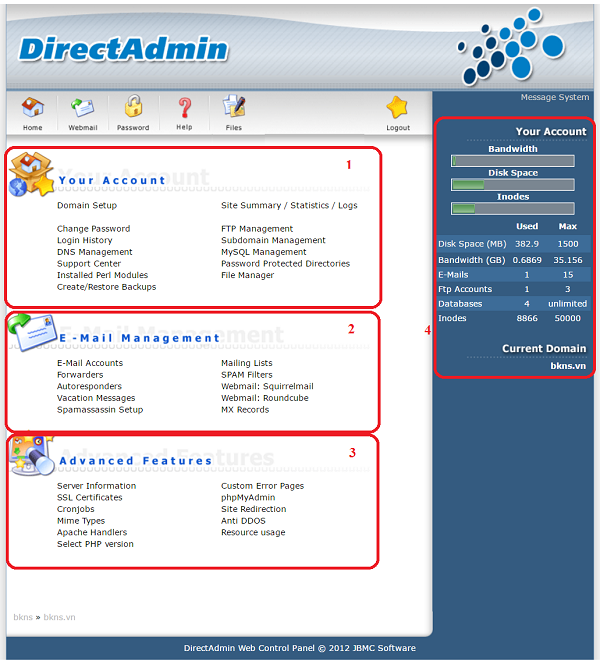 Giao diện của Direct Admin