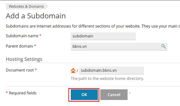 Bạn nhập tên subdomain và chọn OK