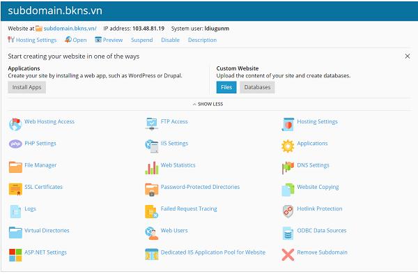 giao diện quản trị hosting phần subdomain.