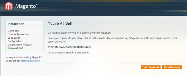 cài đặt thành công bộ mã nguồn Magento.
