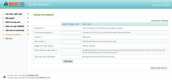 nhập thông tin website và thông tin quản trị của website.