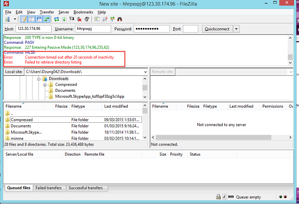Lỗi kết nối FTP bằng FileZilla Failed to retrieve directory listing