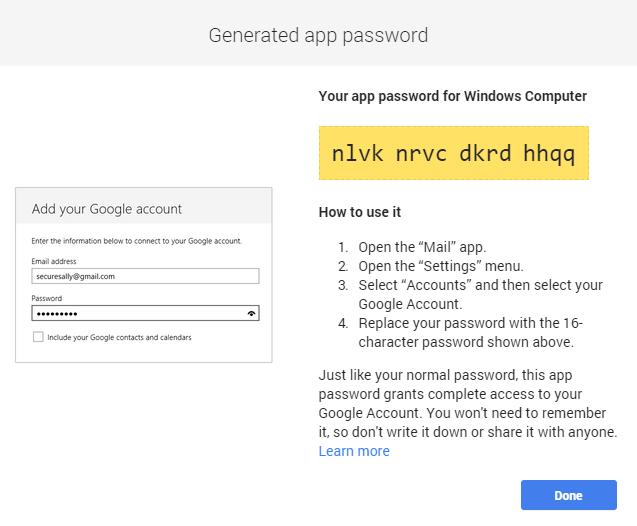mật khẩu SMTP là 1 dãy ký tự