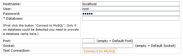 Điền thông tin tên user database, mật khẩu user, databasename vào và chọn Kết nối tới MY SQL