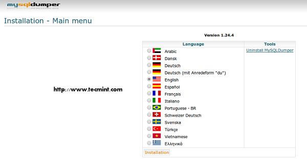 Chọn ngôn ngữ Vietnamese và click nút bấm Installation