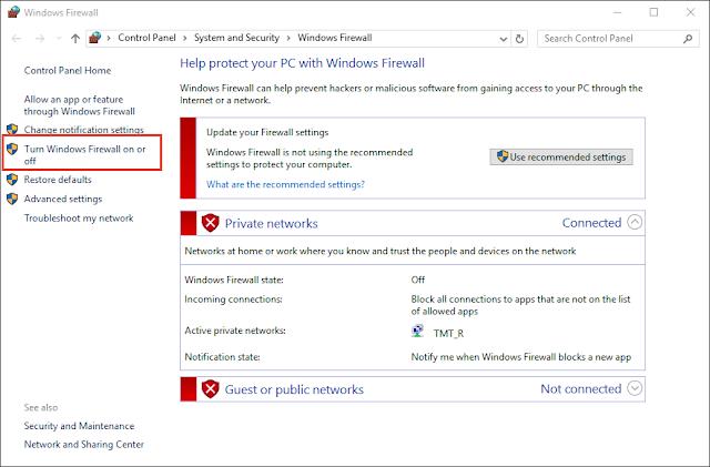 """Click chọn """"Turn Windows Firewall on or off"""" ở menu bên trái"""