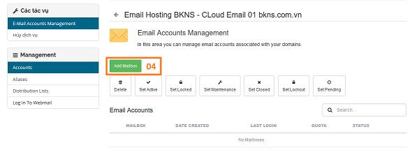 Thông tin Tạo tài khoản Email cloud