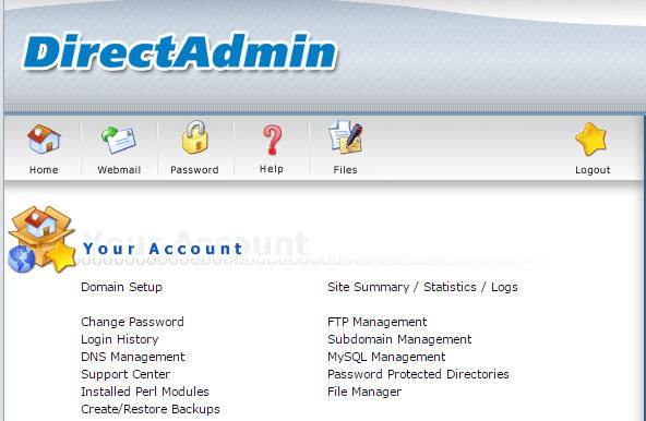 Đăng nhập vào tài khoản hoossting trong Directadmin