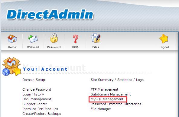 Chọn mục MySQL Management trong DirectAdmin