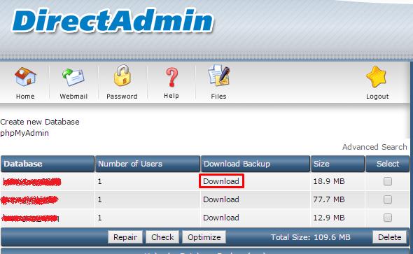 chọn cơ sở dữ liệu mà muốn backup để Downloadvề máy tính