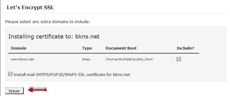 Sau đó click Issue để cài đặt SSL