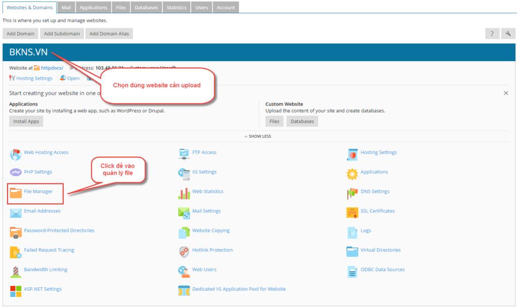 Tại giao diện hosting ta thao tác như trong hình