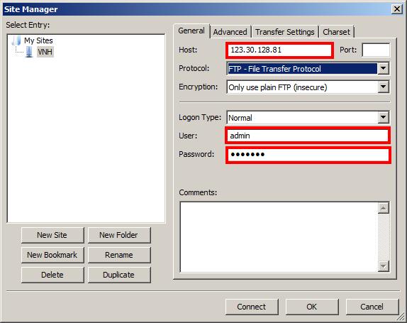 Điền các thông tin đăng nhập File Zilla thông tin Host, User, Password.