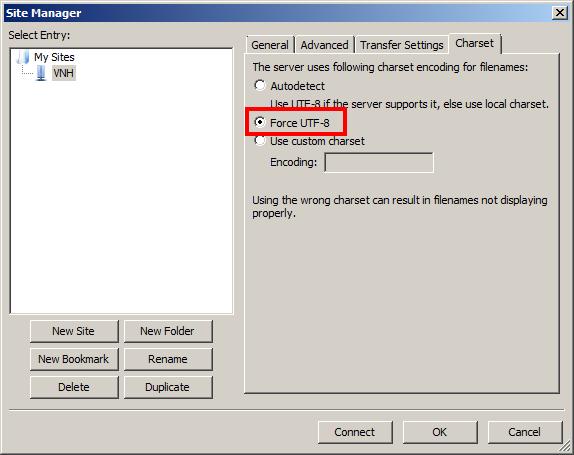 Chuyển sang Tab Charset chọn Force UTF - 8sau đó nhấn Connect