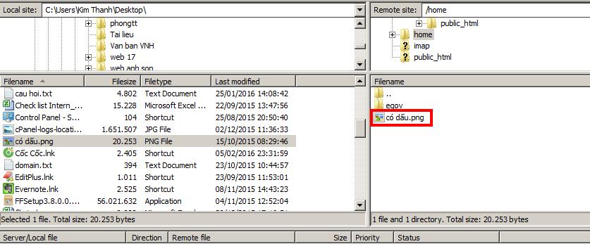 Thực hiện Upload file với tên có dấu kết quả thành công.