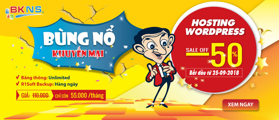 Khuyến mãi 50% Hosting Wordpress