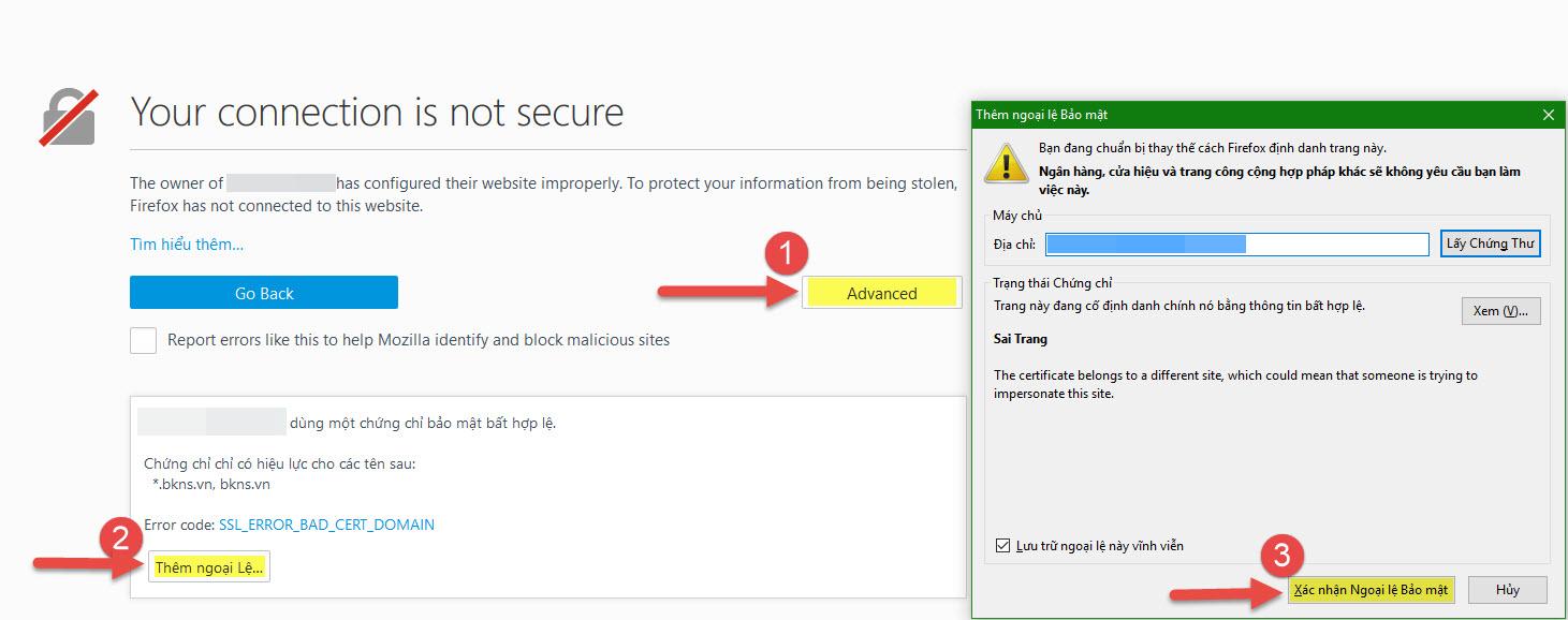 Khắc phục lỗi kết nối qua SSL sử dụng chứng chỉ bảo mật chưa xác thực