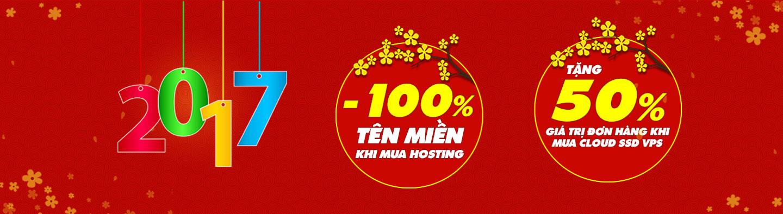 Khuyến mãi Tên miền 0 đồng,  hosting -100%
