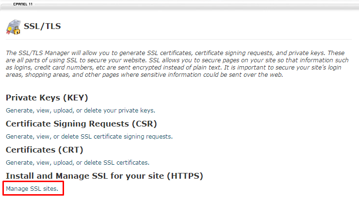 Chọn mục Manage SSL Sites