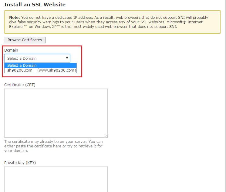 Chọn tên miền trên hosting cần cài đặt SSL