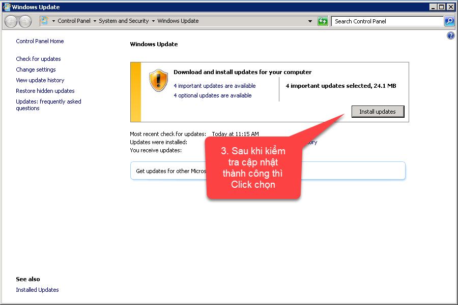 Bạn click chọn mục Install Updates