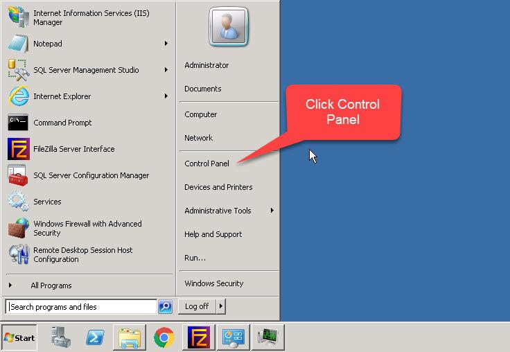 Truy cập Bảng Control Panel