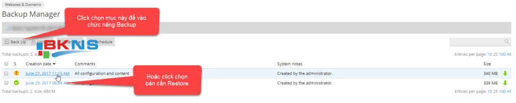 Tạo 1 bản backup mới, nếu đã có bản backup thì chọn để vào chức năng restore
