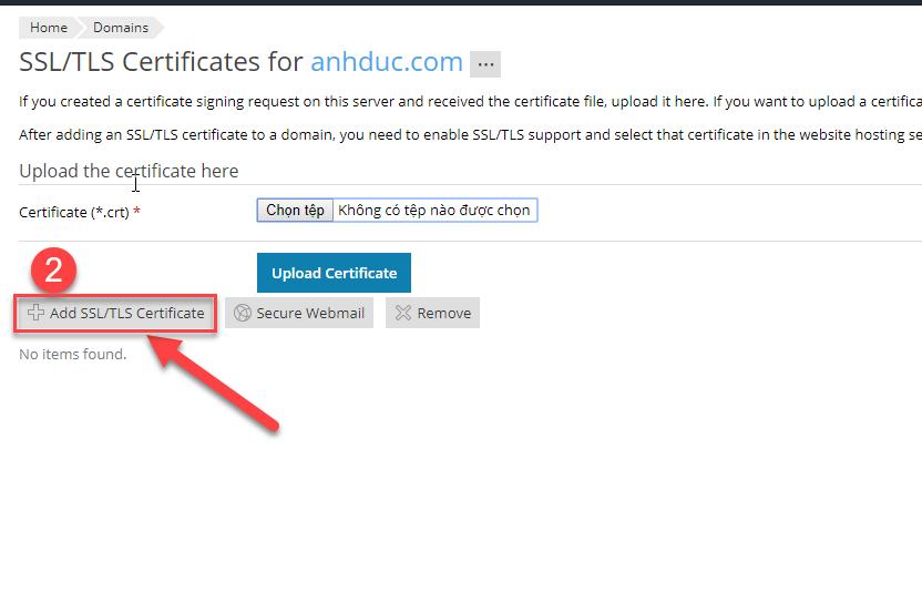 Cửa sổ mới xuất hiện chọn Add SSL/TLS Certificate