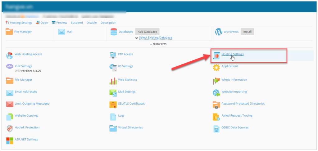 Quay về trang quản trị hosting click vào Mục Hosting setting
