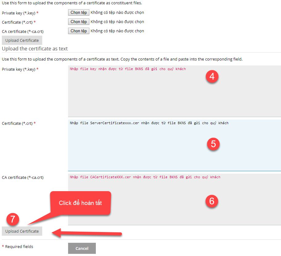 Cửa sổ mới xuất hiện Nhập nội dung các file SSL theo các bước số 4,5,6 trong hình