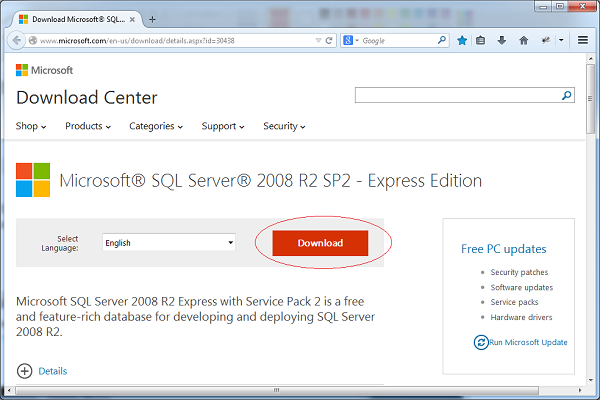 Download SQLServer Express 2008 Release 2