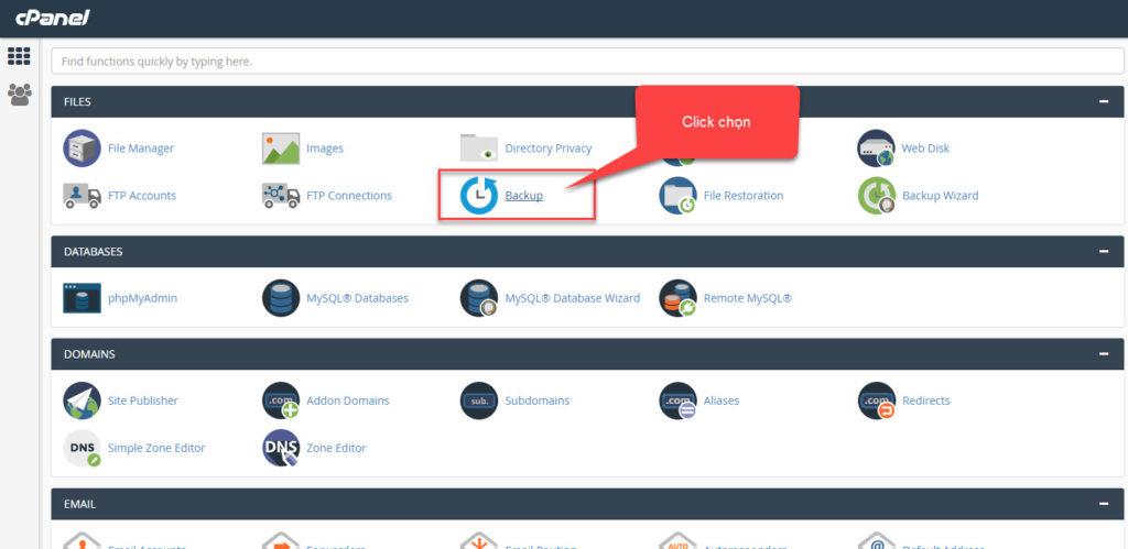 """Đăng nhập vào quản trị hosting Cpanel sau đó click mục """"Backup"""""""