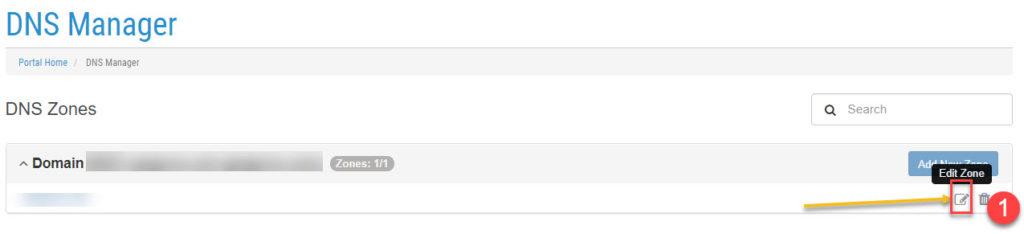 Đăng nhập quản lý tên miền sau đó chọn tên miền cần chỉnh sửa bằng cách bấm vào Edit