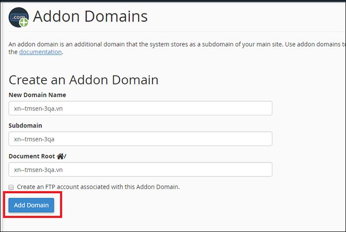 Thêm tên miền tiếng việt vào hosting vào Hosting DA vào Addon Domain