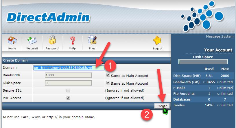 thêm tên miền tiếng việt vào hosting vào Hosting DA
