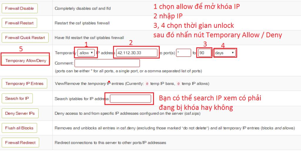 Để kiểm tra và mở khóa 1 IP nào đó, click Search for IP