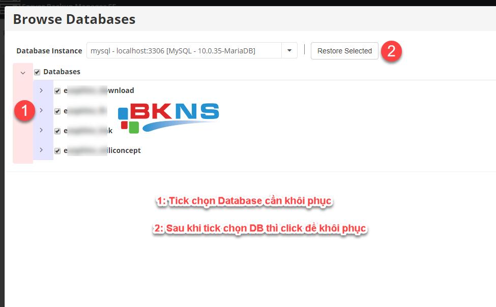 Tick chọn Database để restore full DB hoặc click mũi tên để chọn đúng tên database cần restore