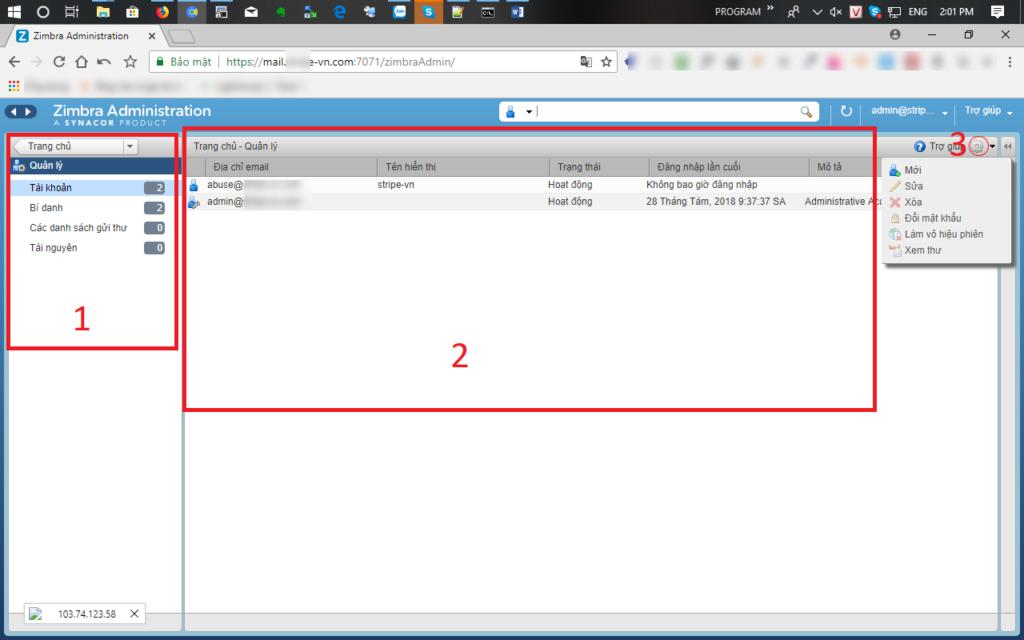Đăng nhập admin để tạo tài khoản email mới bạn click vào menu Quản lý