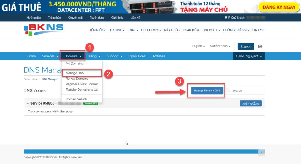 Quý khách vào mục ManageReverse DNSnhư ảnh trên