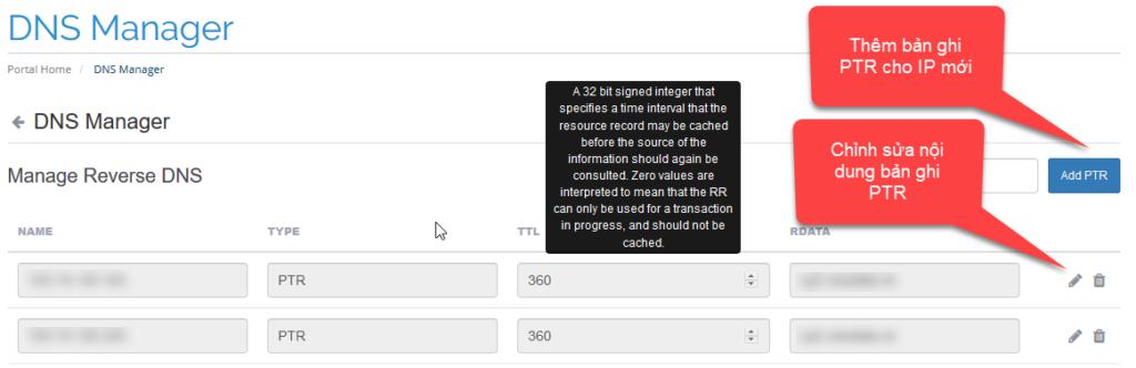 Chỉnh sửa bản ghi PTR đối với server có 1 IP